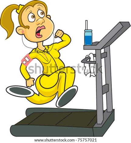 A woman at the gym wearing yellow workout gear running on a treadmill while listening to her MP3 player - stock vector