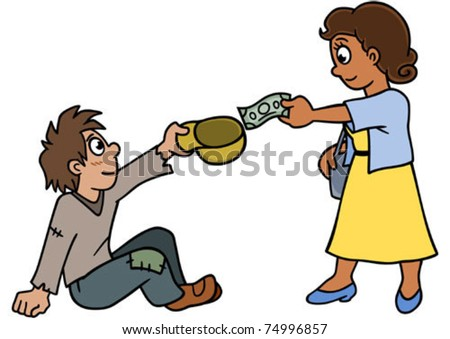 A woman donating to someone in need. - stock vector
