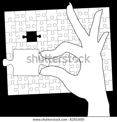 A woman holds in her hand the final piece of a jigsaw puzzle solution. - stock vector