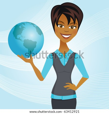 A woman in casual business attire holds a globe on a light blue background. - stock vector