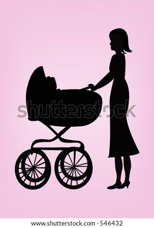 A woman pushing a pram - stock vector