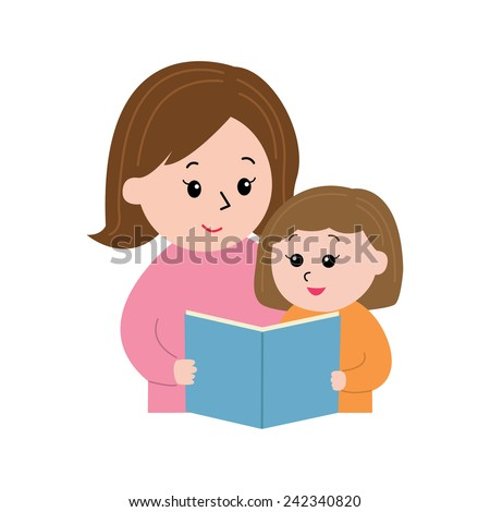 A woman reading a book to a little girl, vector illustration - stock vector