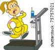 A woman running on a treadmill - stock vector