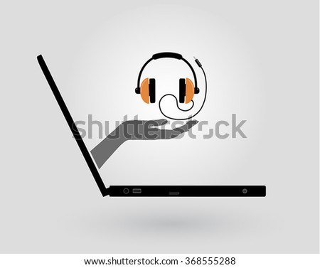 a woman's hand comes out of a laptop screen and gives a headphone - stock vector