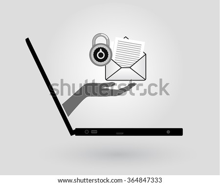 a woman's hand comes out of a laptop screen and gives an email