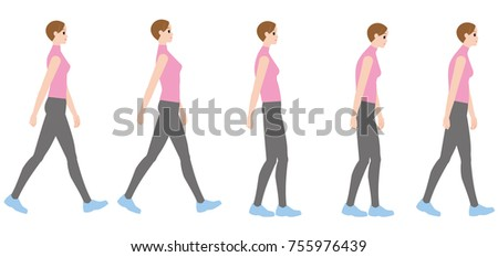 stock vector a woman walking in a good posture and a woman walking in a bad posture 755976439