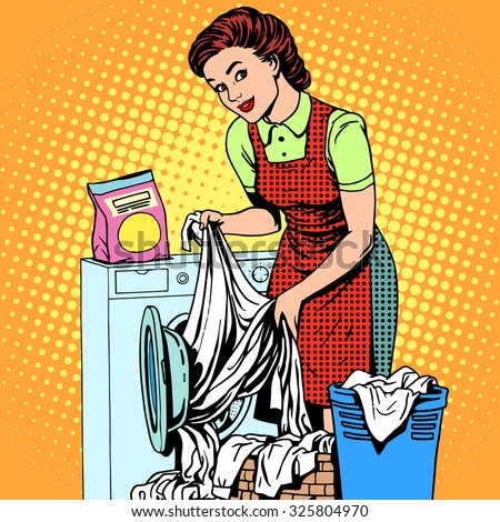 A woman washes clothes in a washing machine pop art retro style. Housewife doing the housework. Clean and tidy