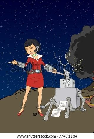 A woman with an ax chopping robot head - stock vector