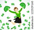 a women jumping in group of flowing cash - stock photo