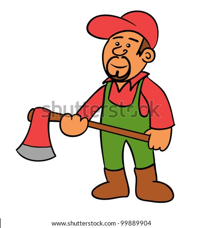 a woodcutter holding an axe - stock vector