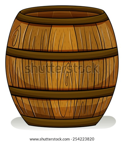 A wooden barrel on a white background