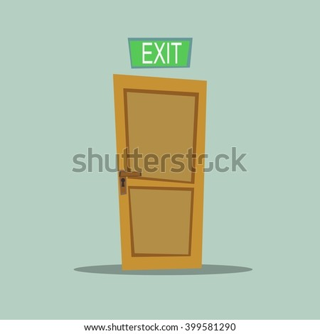 A wooden door with exit sign, vector illustration - stock vector