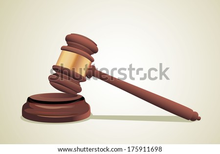 A wooden judge gavel and soundboard - stock vector