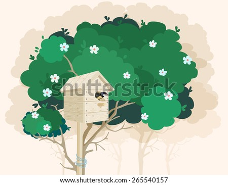 A wooden nesting box with a small bird in it tied to a green blossoming tree and tree shadows on the background
