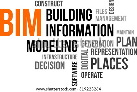 A word cloud of building information modeling related items - stock vector