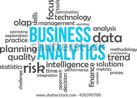 A word cloud of business analytics related items - stock vector