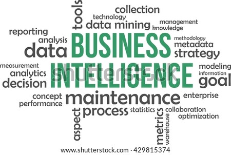 A word cloud of business intelligence related items - stock vector