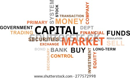 A word cloud of capital market related items - stock vector