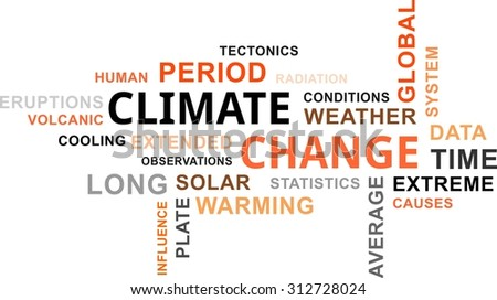 A word cloud of climate change related items - stock vector