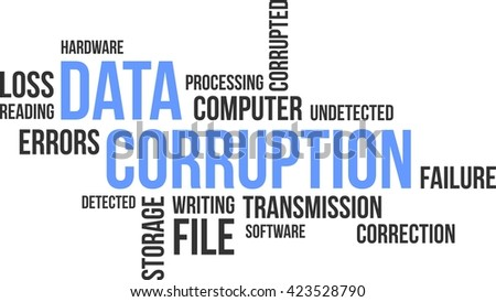 A word cloud of data corruption related items - stock vector