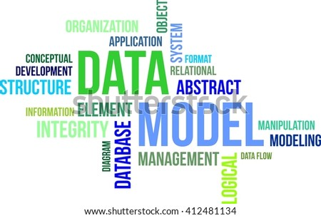 A word cloud of data model related items - stock vector