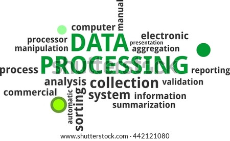 A word cloud of data processing related items - stock vector