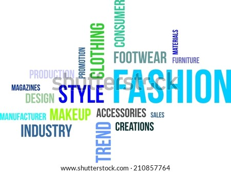 A word cloud of fashion related items