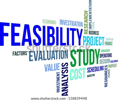 A word cloud of feasibility study related items - stock vector