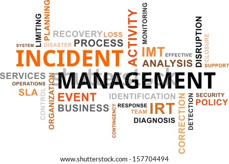 A word cloud of incident management related items - stock vector