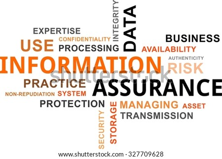 A word cloud of information assurance related items - stock vector