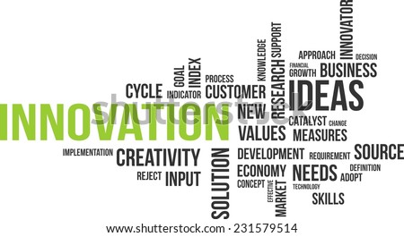 A word cloud of innovation related items - stock vector