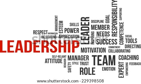 A word cloud of leadership related items - stock vector