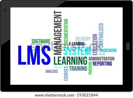 A word cloud of learning management system related items - stock vector