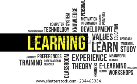 A word cloud of learning related items - stock vector