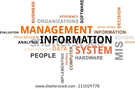 A word cloud of management information system related items - stock vector
