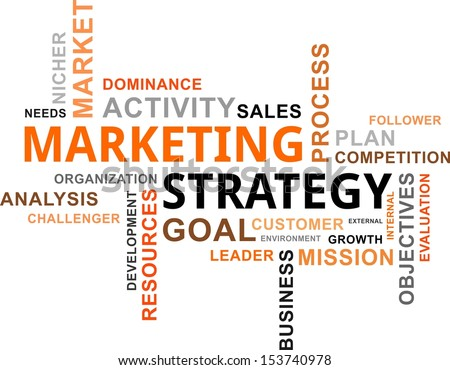 A word cloud of marketing strategy related items  - stock vector