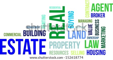 A word cloud of real estate related items - stock vector
