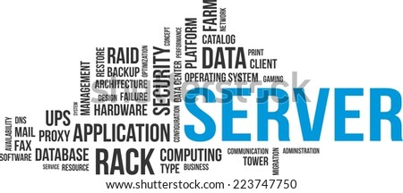 A word cloud of server related items - stock vector