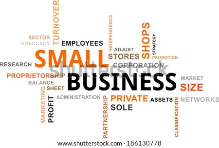 A word cloud of small business related items - stock vector