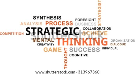 A word cloud of strategic thinking related items - stock vector