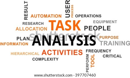 A word cloud of task analysis related items - stock vector