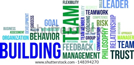 A word cloud of team building related items - stock vector