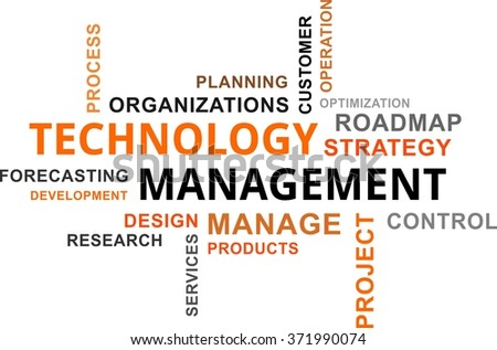 A word cloud of technology management related items - stock vector