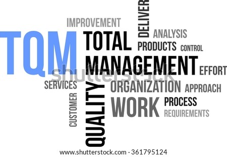 A word cloud of total quality management related items - stock vector