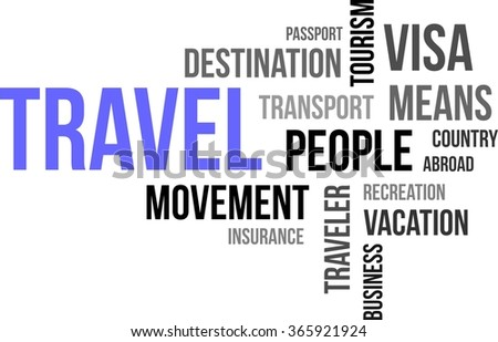 A word cloud of travel related items - stock vector