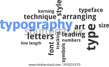 A word cloud of typography related items - stock vector