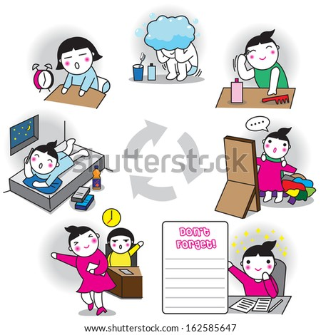 A working girl's life cycle, daily life activities
