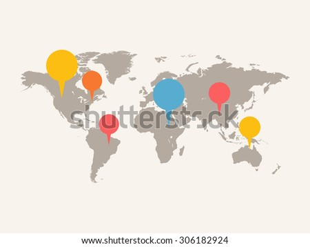 A world map with infographic elements. Grey color of map with white background. Square layout. - stock vector