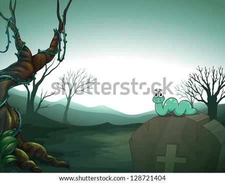 A worm at the top of a tomb in the graveyard - stock vector
