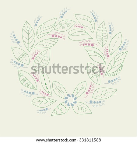 a wreath of leaves and berries - stock vector